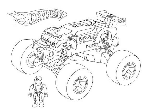 600x463 Hot Wheels Monster Car Coloring Page