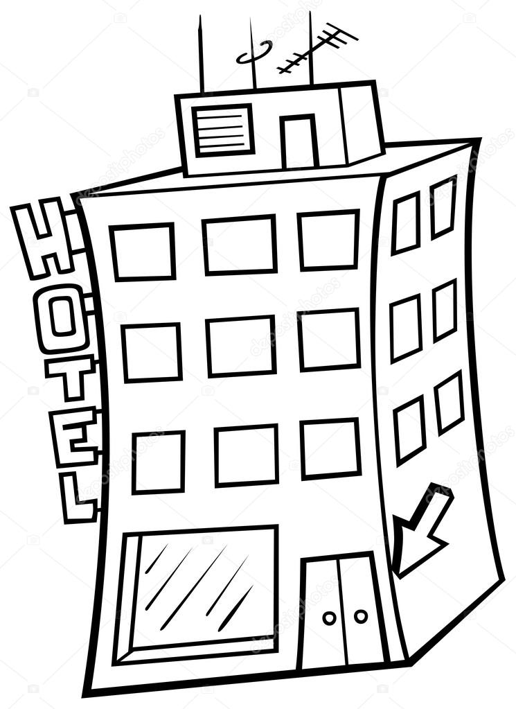 745x1023 Hotel Building Stock Vector Dero2010