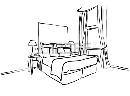 450x334 Hotel Room King Size Bed, Interior Coloring Page, Hand Drawn