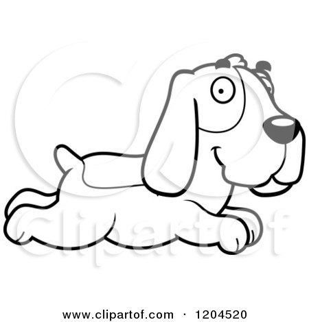450x470 Cartoon Of A Black And White Cute Hound Dog Running