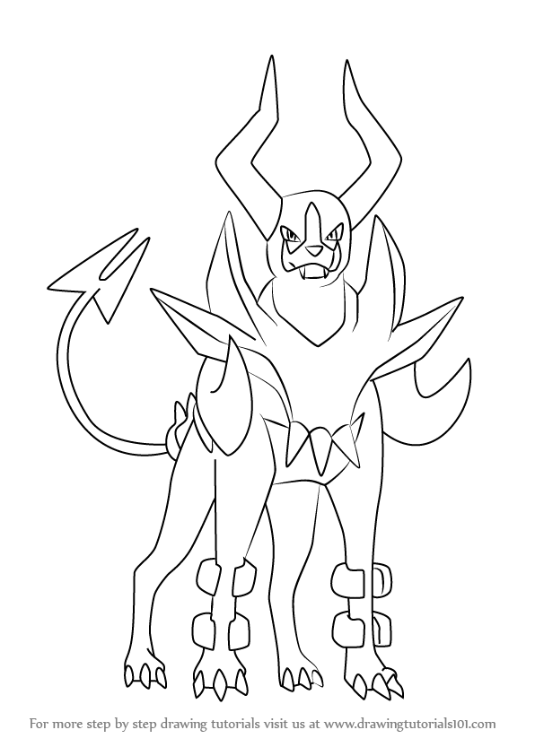 596x843 Learn How To Draw Mega Houndoom From Pokemon (Pokemon) Step By