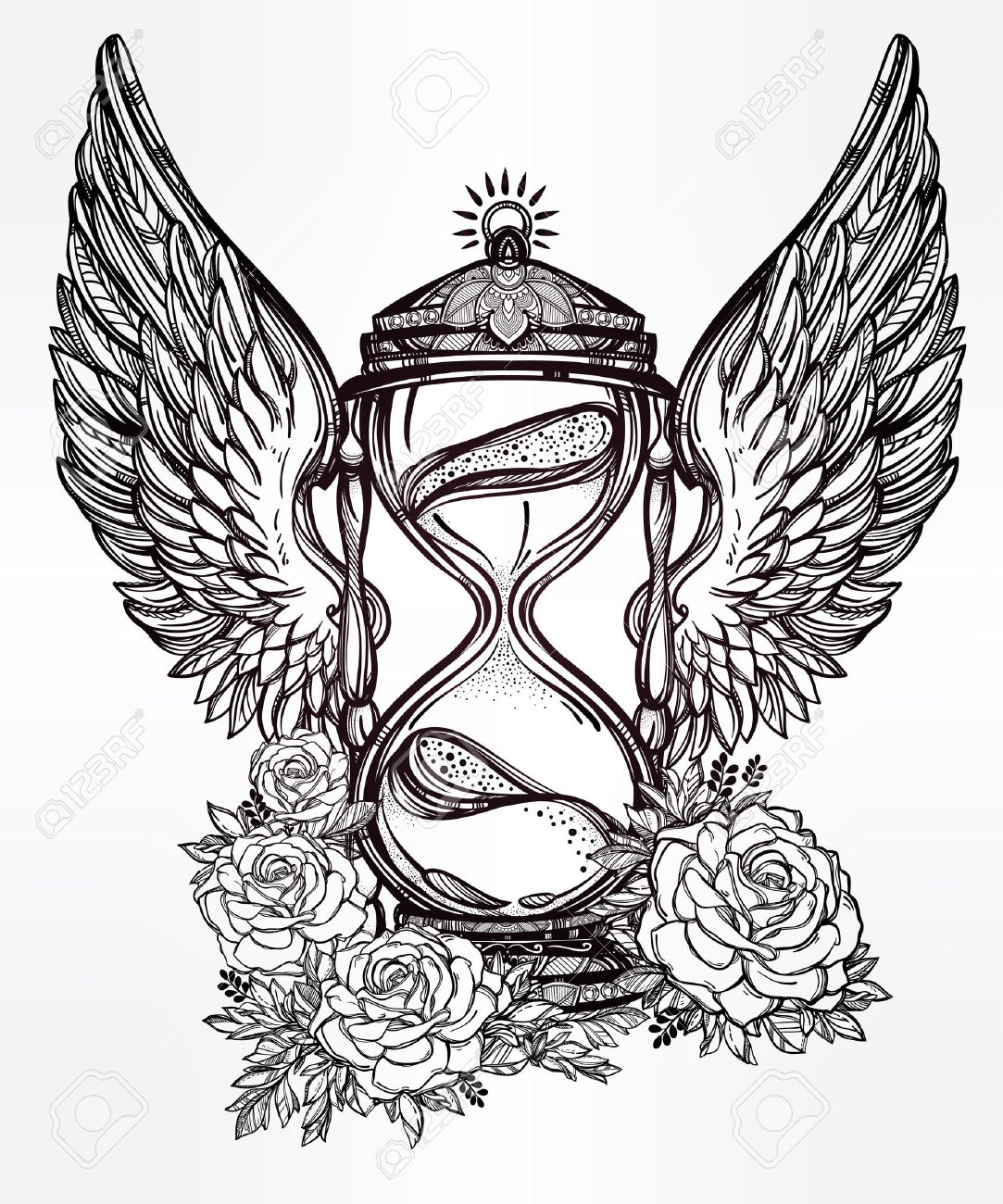 1083x1300 Hand Drawn Romantic Beautiful Drawing Of A Hourglass. Vector