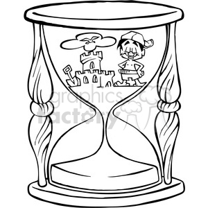 300x300 Royalty Free Black And White Cartoon Hourglass 387828 Vector Clip