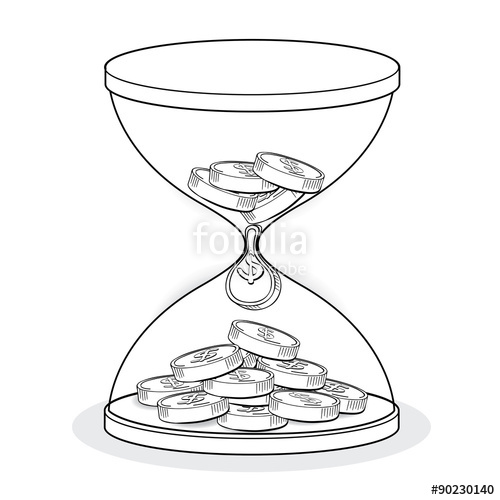 500x500 Hourglass With Gold Coins Line Drawing, Business Concept Vector