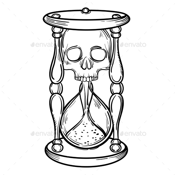 590x590 Decorative Antique Death Hourglass Illustration By Vavavka