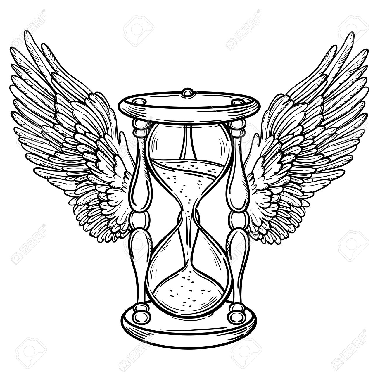 1300x1300 Decorative Antique Hourglass Illustration With Wings. Hand Drawn