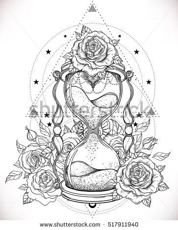 363x470 Decorative Antique Hourglass With Roses Illustration Isolated