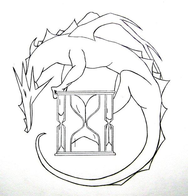 600x626 Dragon Hourglass Tattoo By Typowilliams