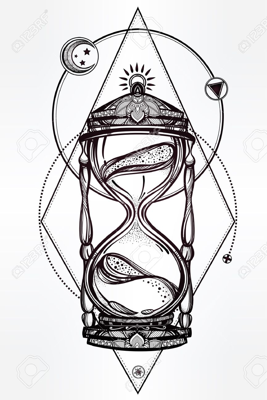 866x1300 Hand Drawn Romantic Beautiful Drawing Of A Hourglass. Vector