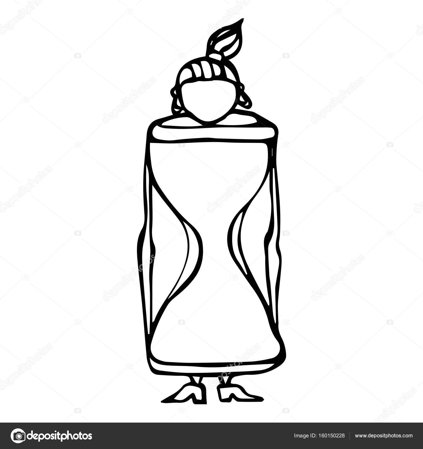 1600x1700 Caricature Hourglass Female Body Shape Sketch. Hand Drawn Vector