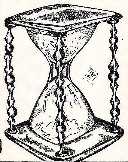 426x537 Time In An Hourglass Drawing By Ben Blum
