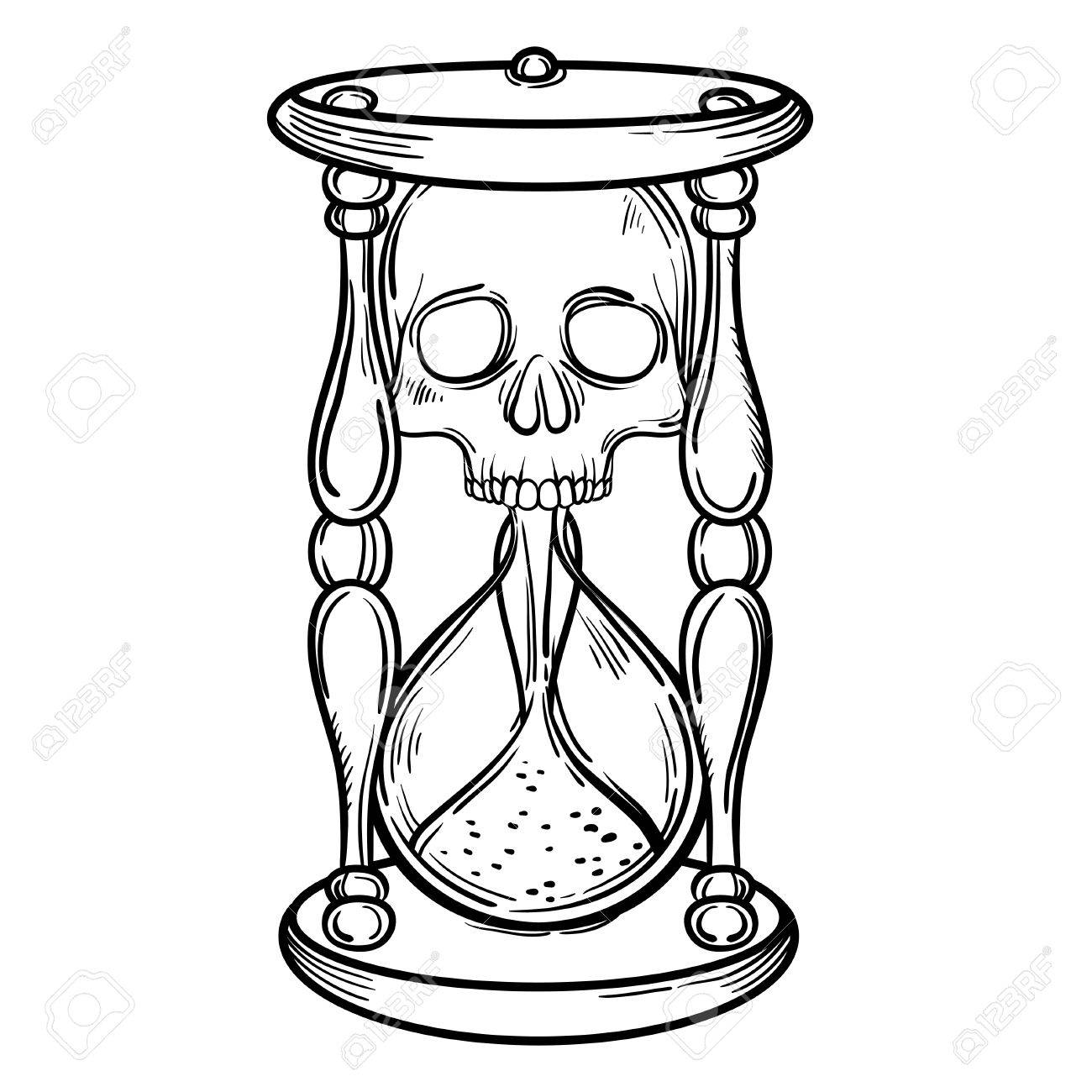 1300x1300 Decorative Antique Death Hourglass Illustration With Skull. Hand