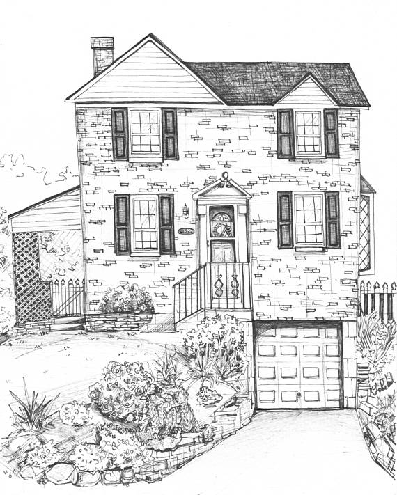 570x711 House Portrait Varying Sizes Klorebel Architectural Drawing