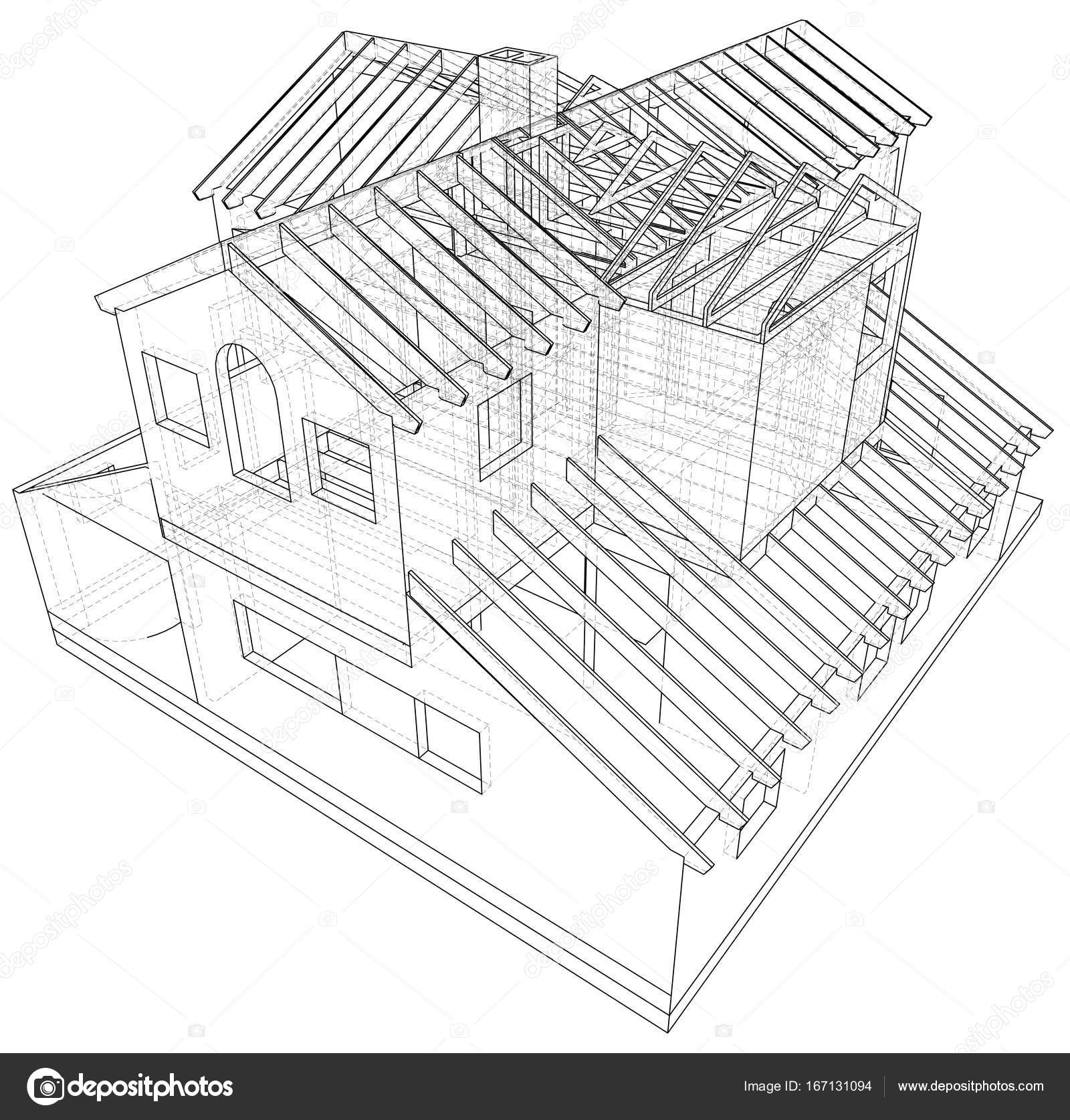 1600x1675 House Structure Architecture. Abstract Drawing. Tracing