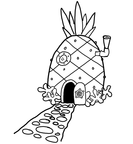 450x486 Finished Drawing Of A Pineapple House In Bikini Bottom Rocks