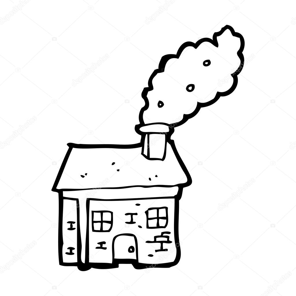 1024x1024 House With Chimney Cartoon Stock Vector Lineartestpilot
