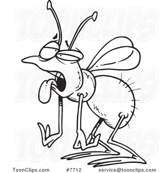 581x600 Cartoon Black And White Line Drawing Of A Tired House Fly