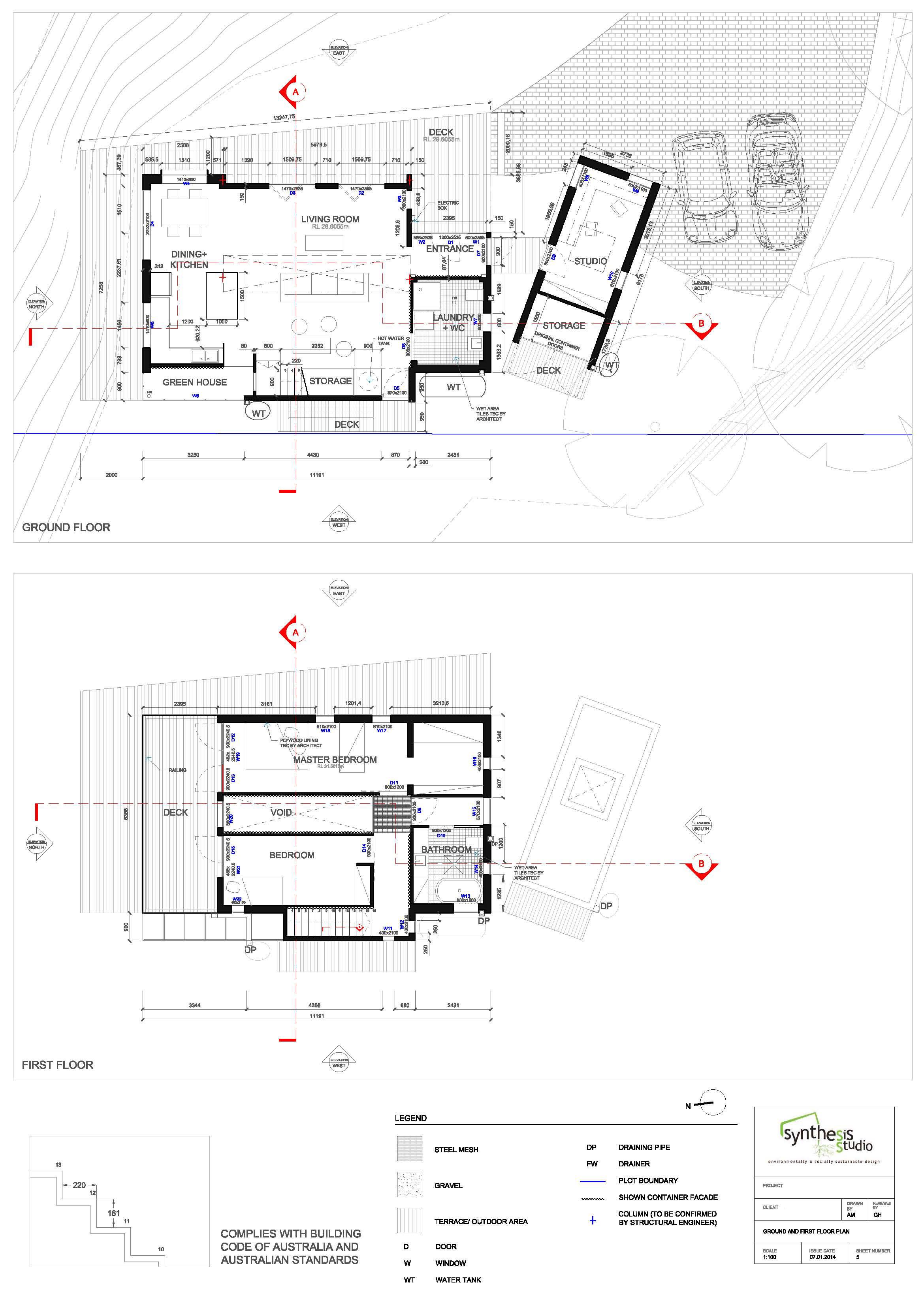 2339x3309 Da Plans For Container House Ainhoa Martinez Archinect
