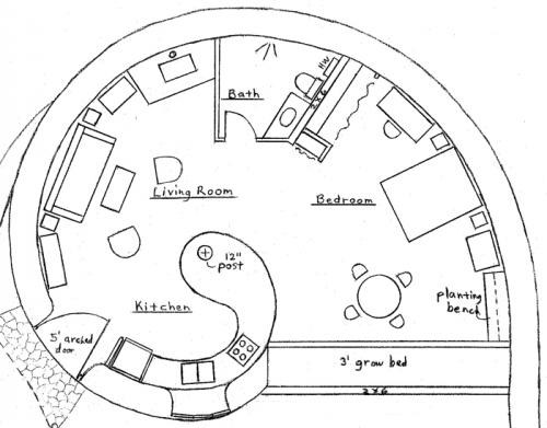500x391 Earthbag House Plans