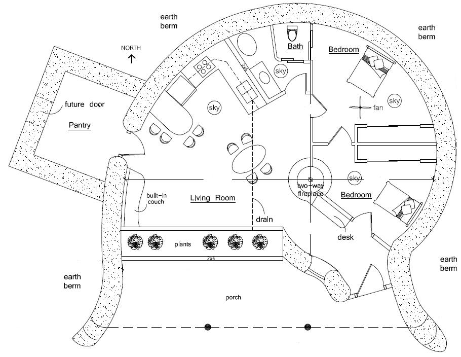 910x704 Spiral Earthbag House Plans