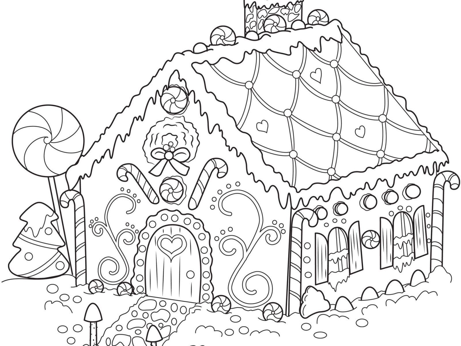 1600x1200 Gingerbread House Coloring Page Download Drawing Pages Printable