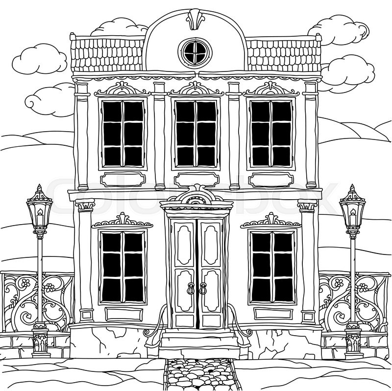 800x799 House drawing with details for adult coloring book or for zen art