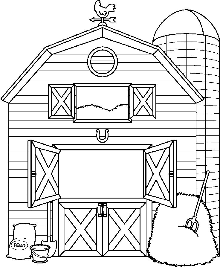 736x893 Farm House Clipart Black And White