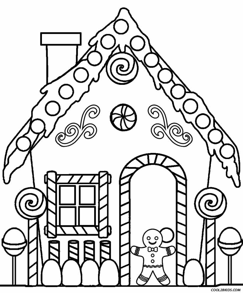 823x991 Gingerbread House Coloring Page