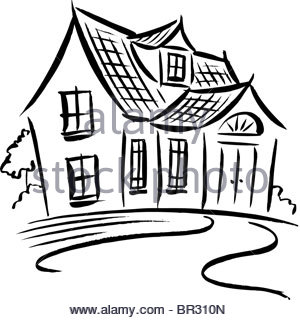 300x320 A Black And White Drawing Of A Mansion Stock Photo 31414152