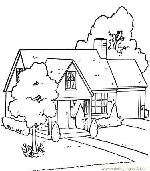 525x600 House With Garden Coloring Page Webzine.co