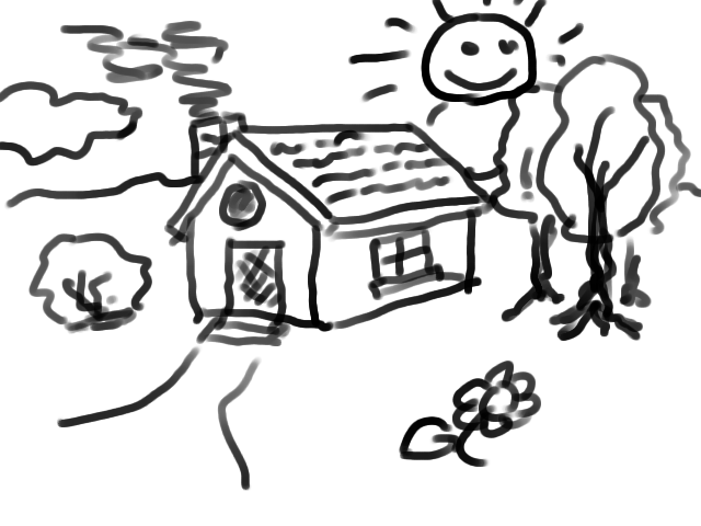 640x480 Simple House Drawing Art