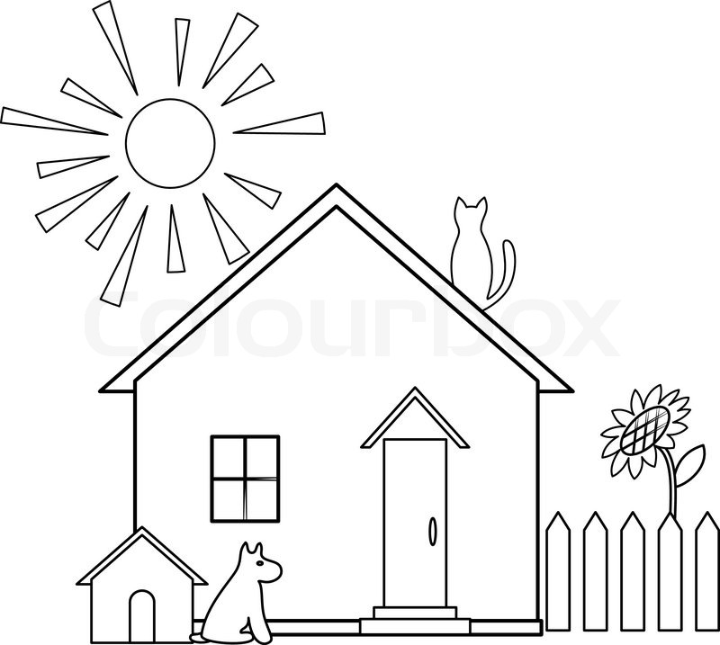 800x717 House With Garden Clipart Black And White