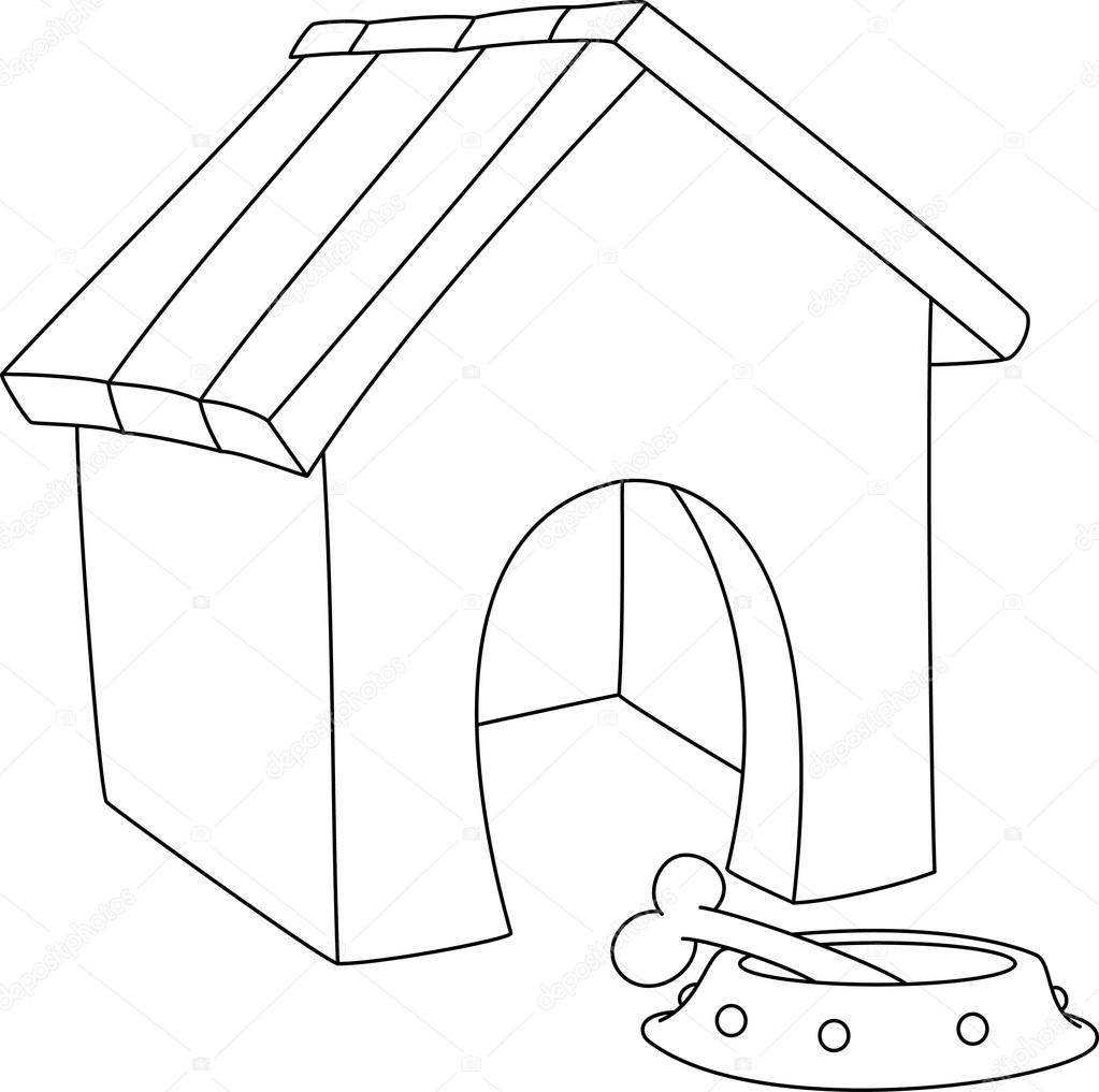 1023x1017 Illustration Of A Dog House Outlined Stock Vector Polkan