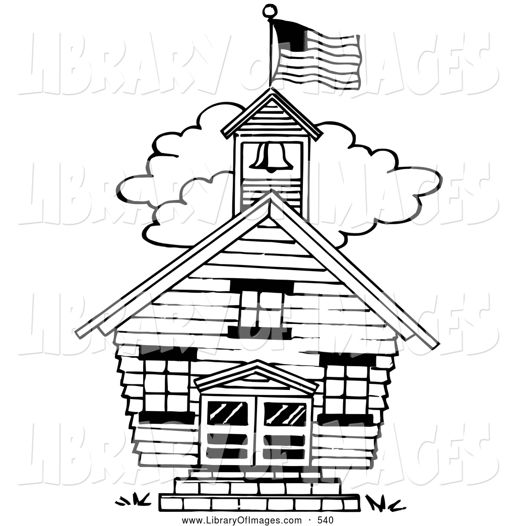 1024x1044 Clip Art Of A Black And White One Room School House By Loopyland
