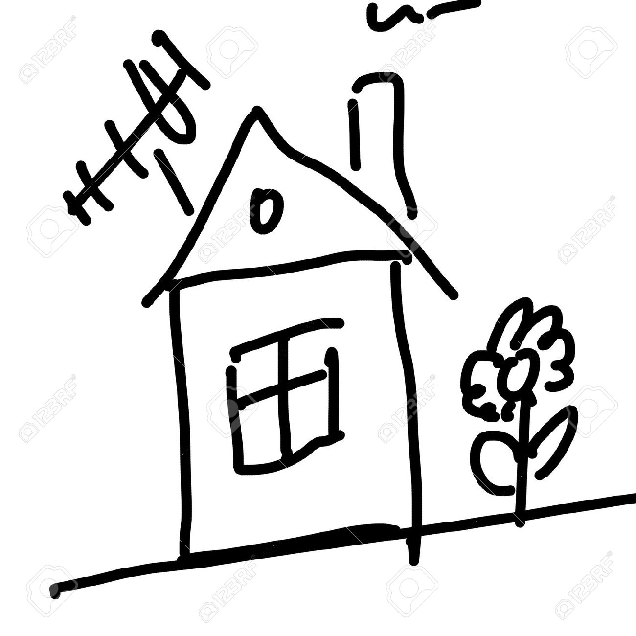 1300x1300 Drawing Of A House Stock Photo, Picture And Royalty Free Image