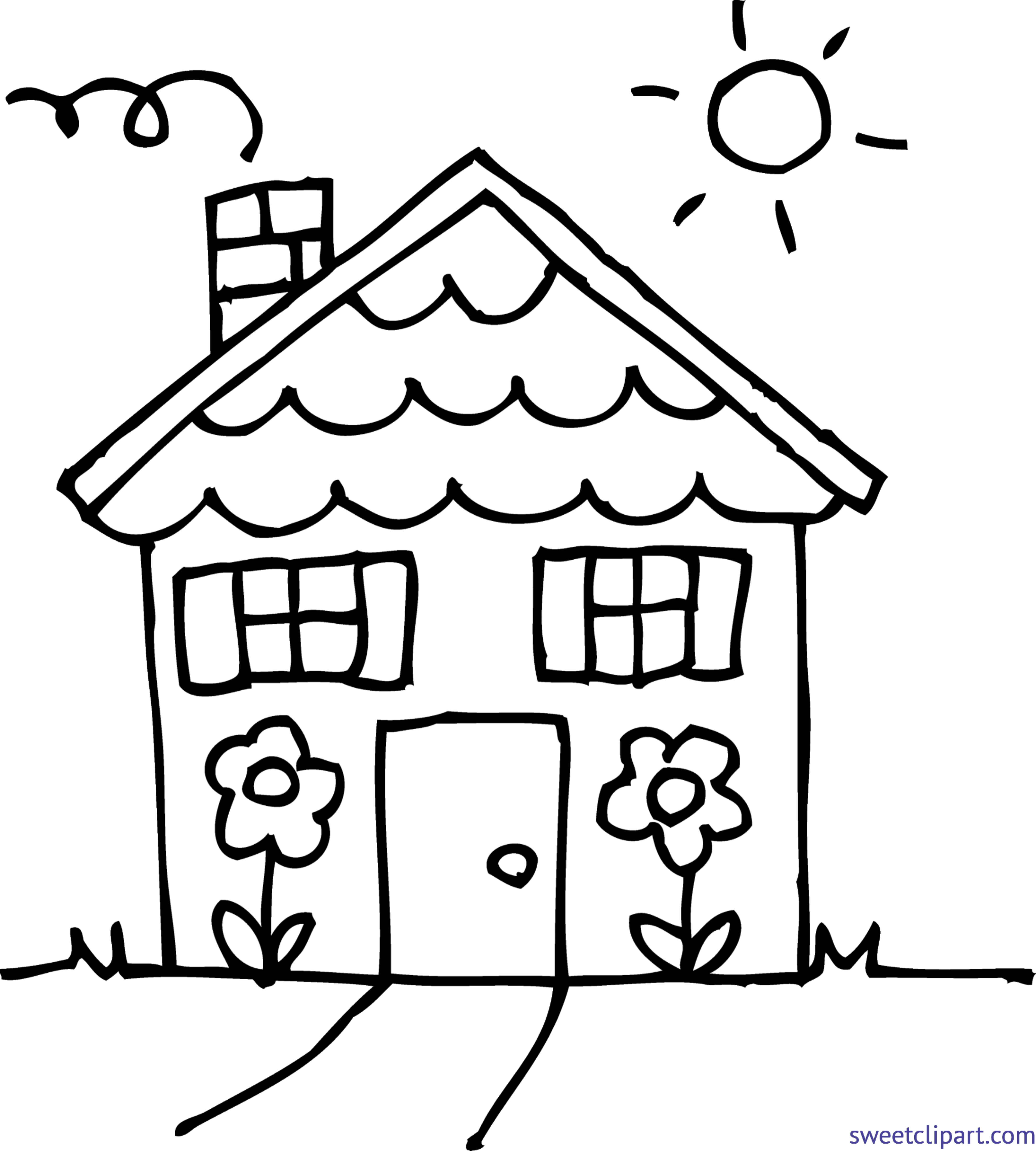 4332x4815 Cute House 3 Coloring Page Clip Art