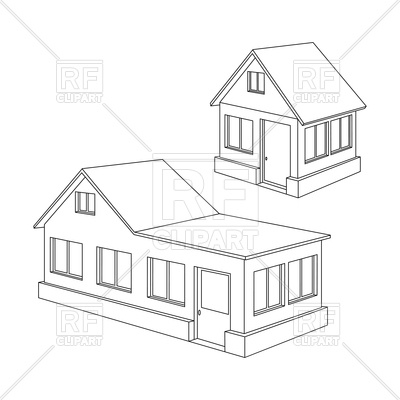 400x400 Apartment House Contour Royalty Free Vector Clip Art Image
