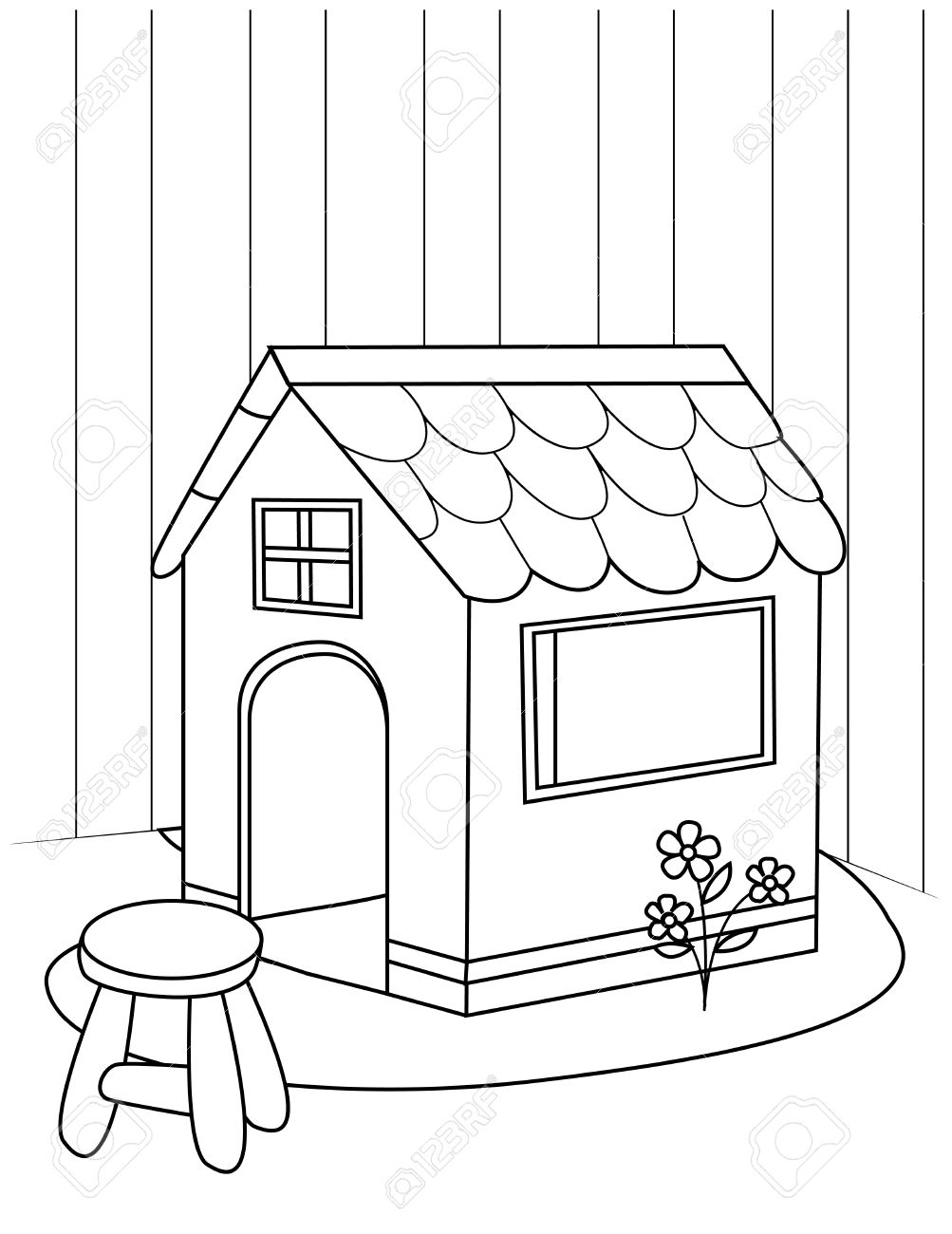1003x1300 Line Art Illustration Of A Playhouse Stock Photo, Picture