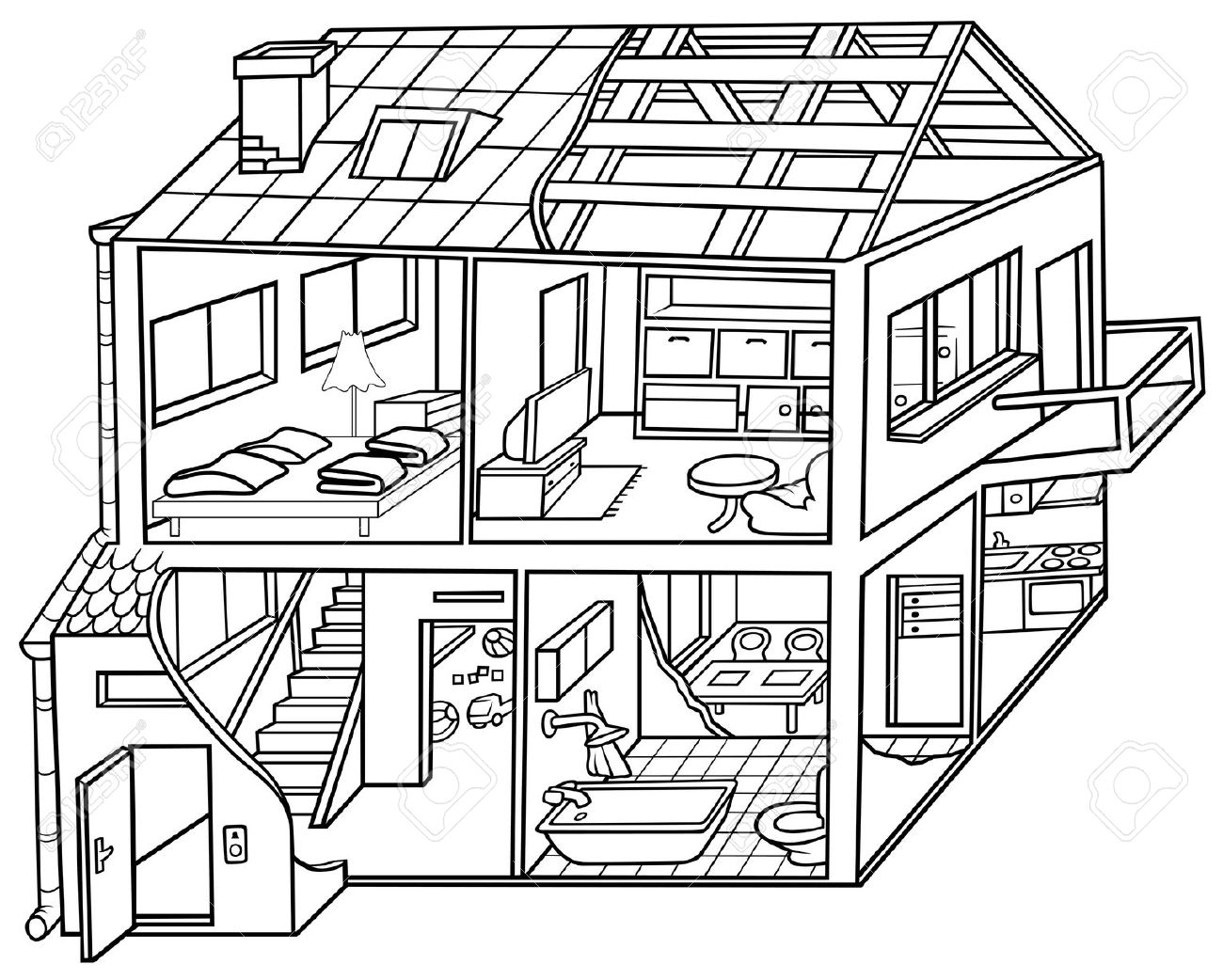 1300x1042 Rooms In A House Clipart Black And White