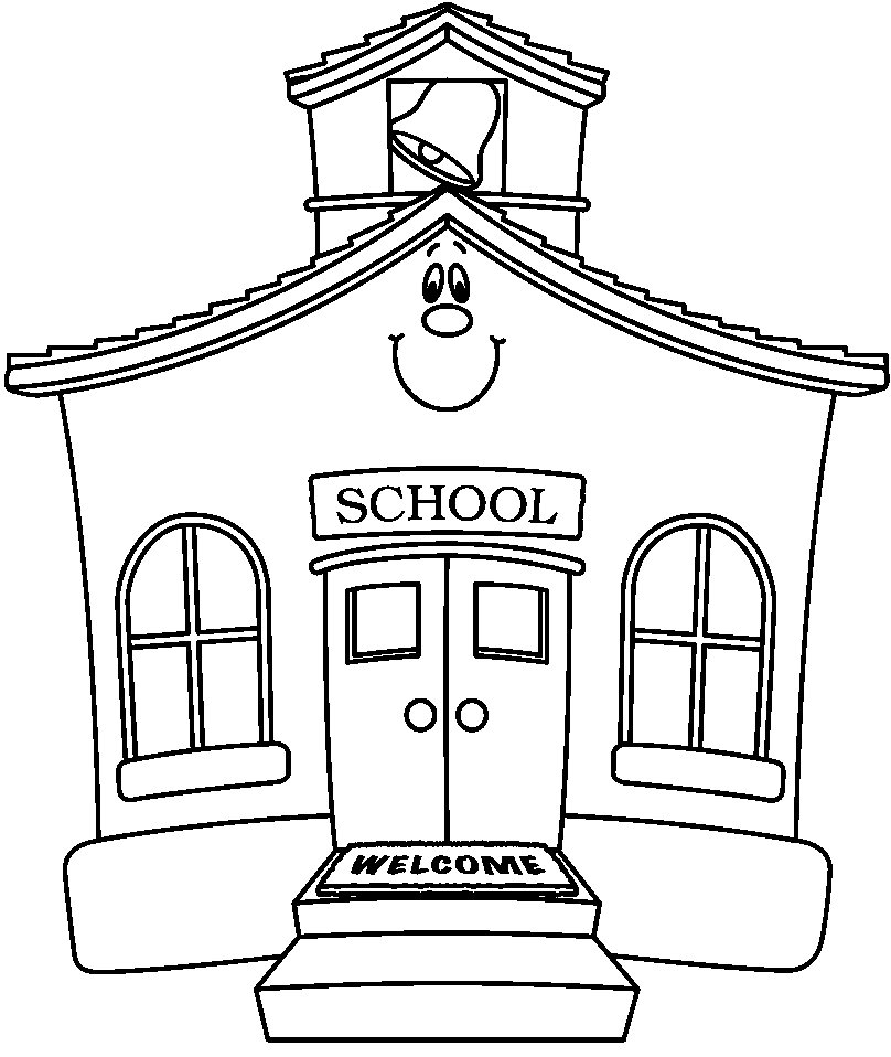808x958 Free Black And White School Clipart Image