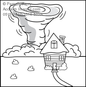 299x300 House In A Tornado Coloring Page Royalty Free Clip Art Picture