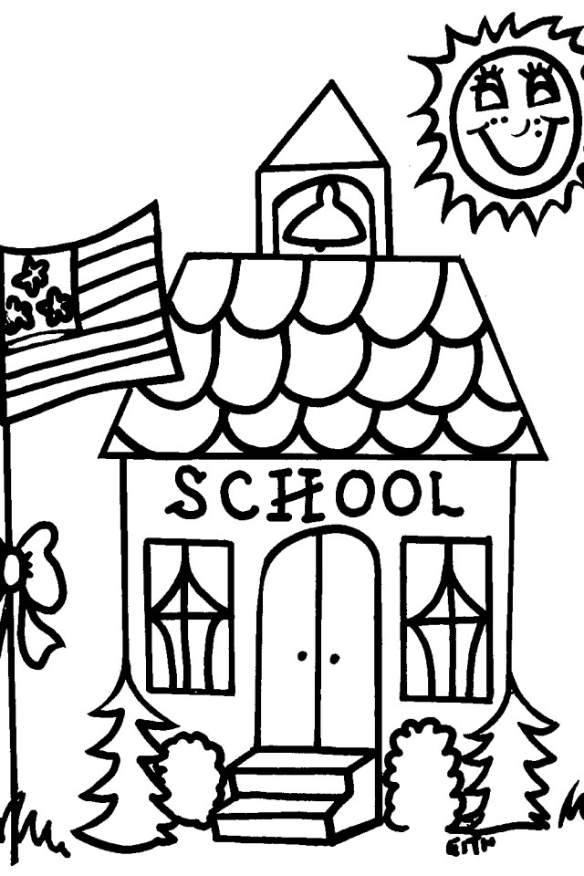 640x960 Elegant School House Coloring Page 61 For Your Fee With School
