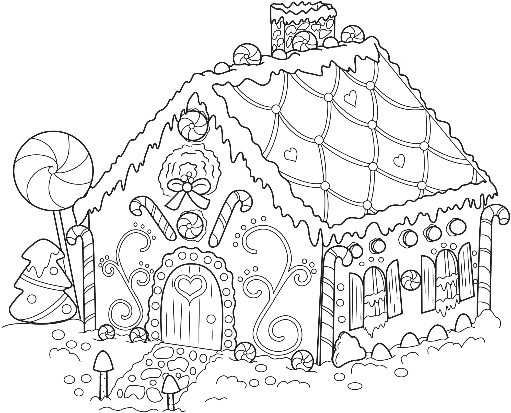 2000x1616 Gingerbread House To Color Coloring Pages Print