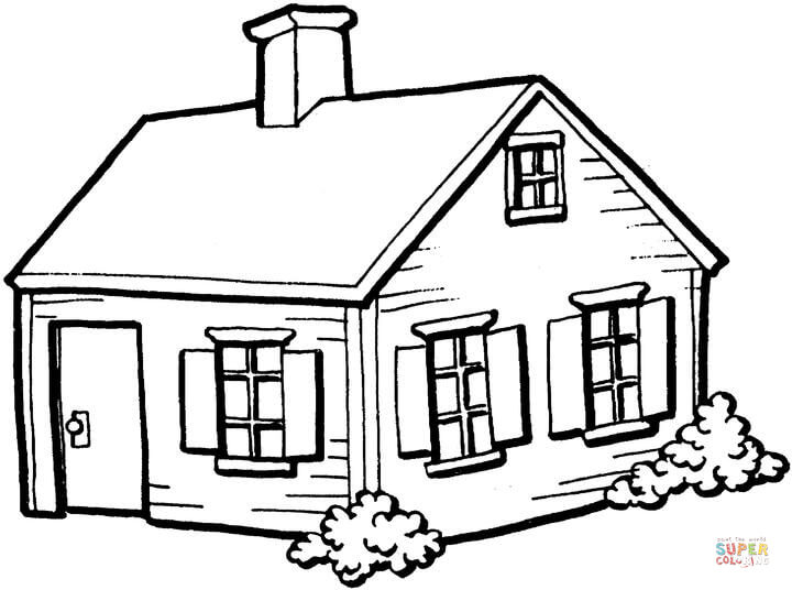 720x536 Small House In The Village Coloring Page Free Printable