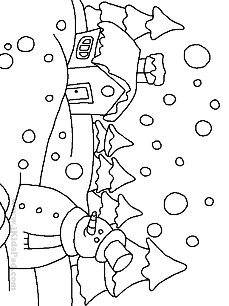768x1024 Winter Landscape Drawing For Kids Free Coloring Pages Of House