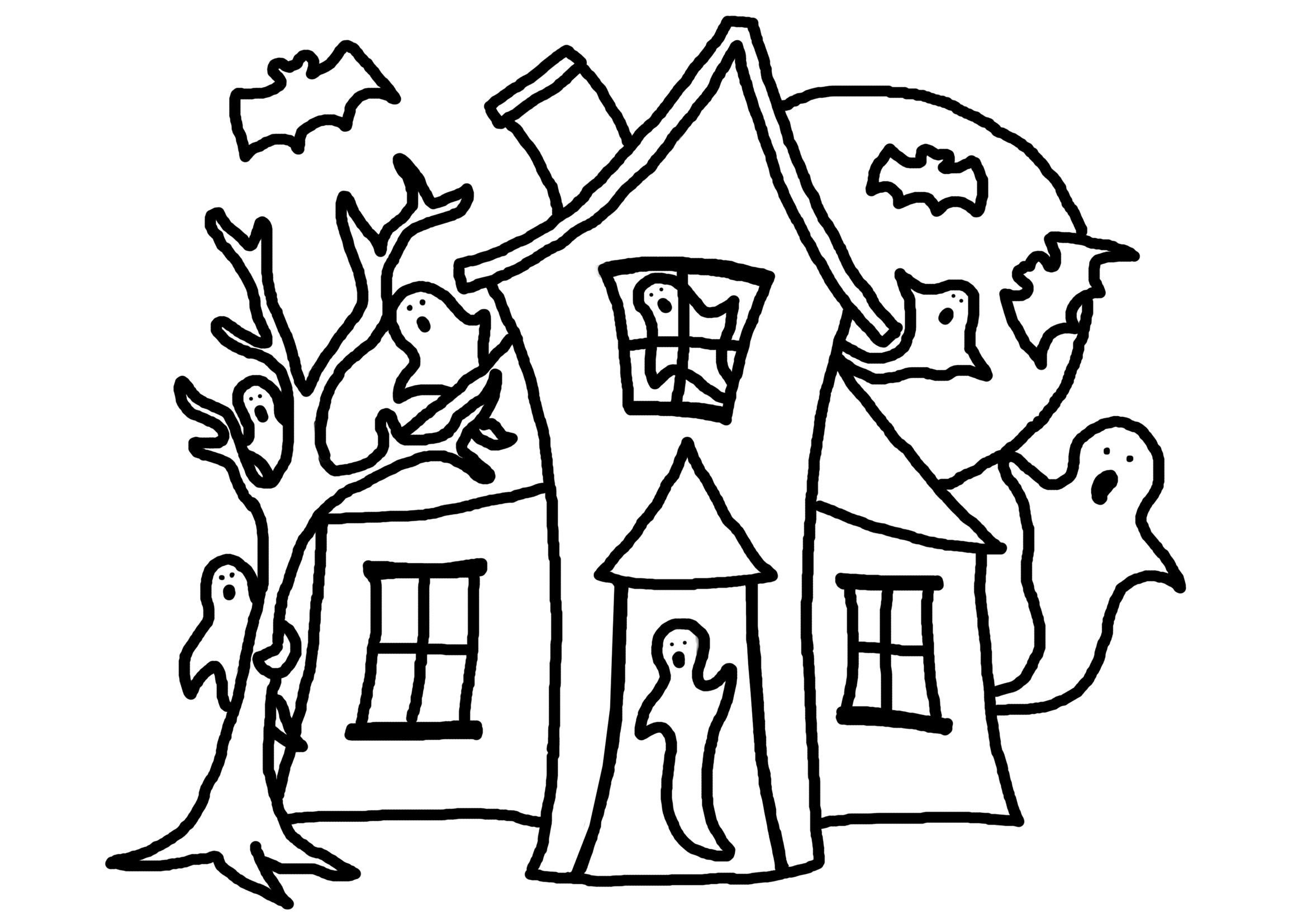 2339x1654 Haunted House Coloring Pages Printables Free Draw To Color