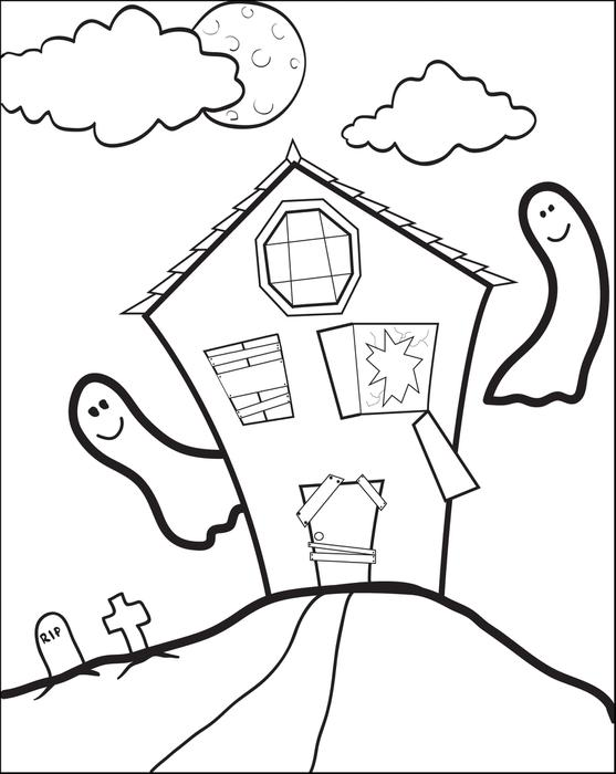 557x700 Free Printable Haunted House Coloring Page For Kids