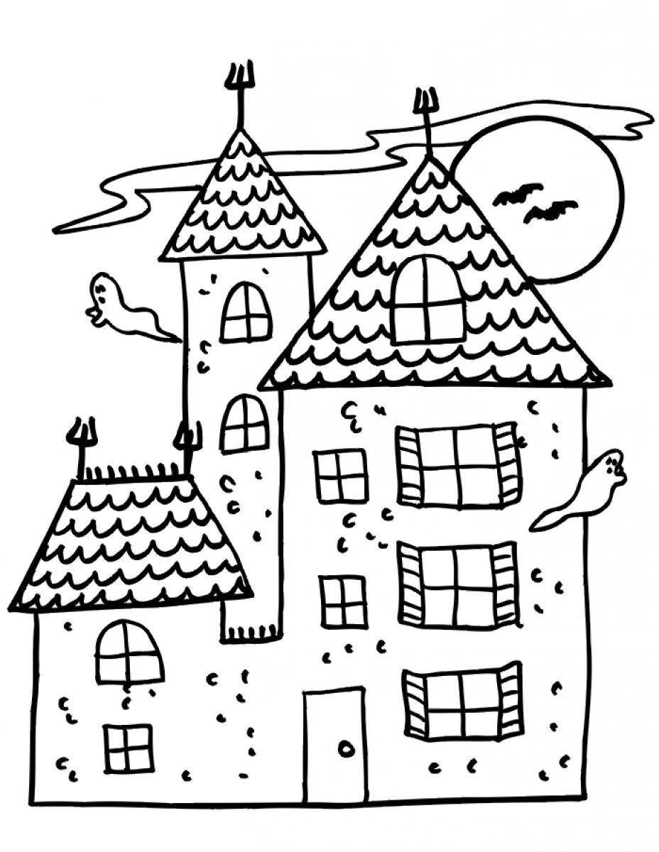 928x1200 Free Printable Haunted House Coloring Pages For Kids