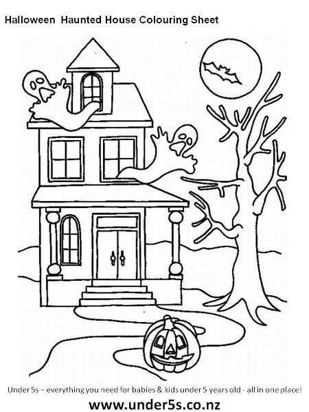 450x600 free printable halloween haunted house colouring sheet for kids