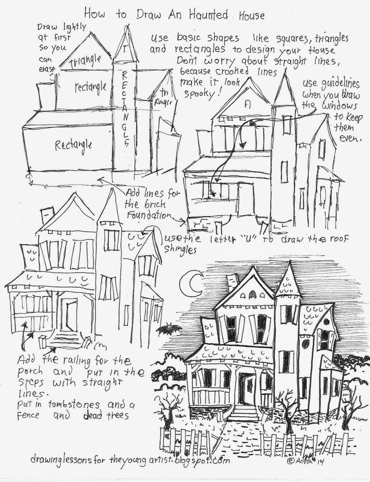 1227x1600 How To Draw A Haunted House Free Worksheet (How To Draw Worksheets